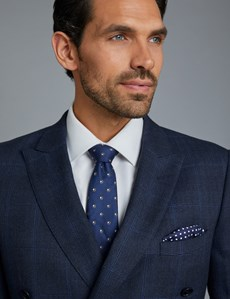 Men's Navy & Blue Prince of Wales Windowpane Check Slim Fit Suit