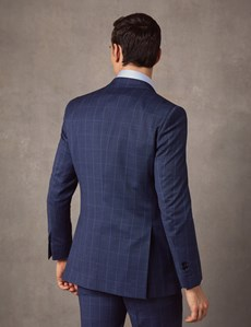 Men's Blue End On End Check Extra Slim Fit Suit Jacket