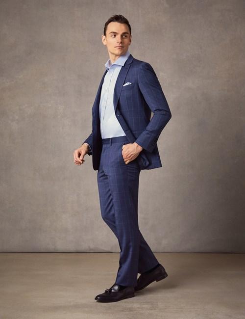 Anzug aus strapazierfähiger 100s Wolle  - Extra Slim Fit - End-on-End blau kariert
