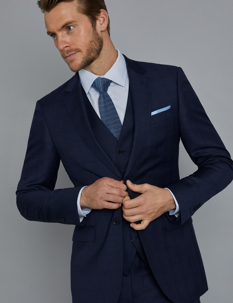 Men's Navy and Red Prince of Wales Plaid Slim Fit Suit Jacket