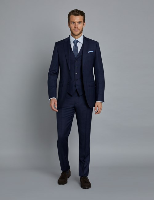 Men's Navy and Red Prince of Wales Plaid Slim Fit Suit
