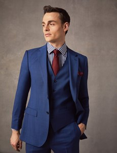 Men's Indigo Prince of Wales Check Slim Fit Suit Jacket