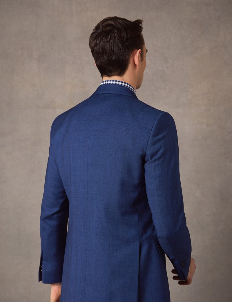Men's Indigo Prince of Wales Check Slim Fit Suit