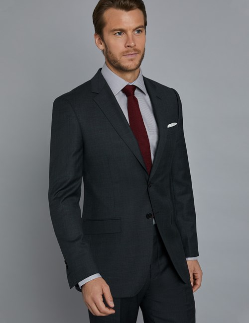 Men's Charcoal & Navy Prince of Wales Check Slim Fit Suit Jacket