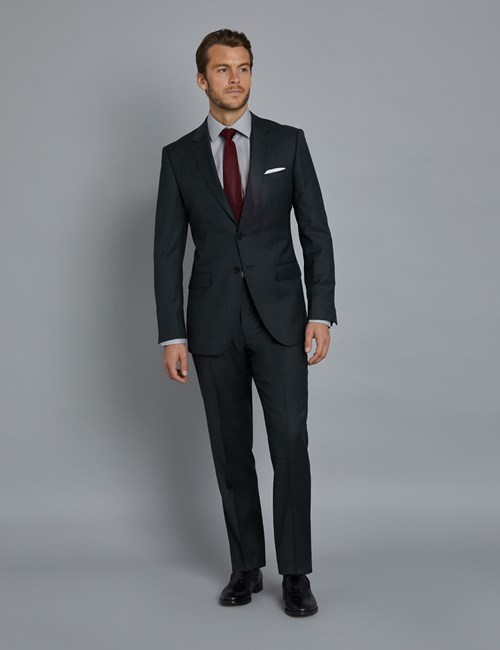Men's Charcoal & Navy Prince of Wales Plaid Slim Fit Suit