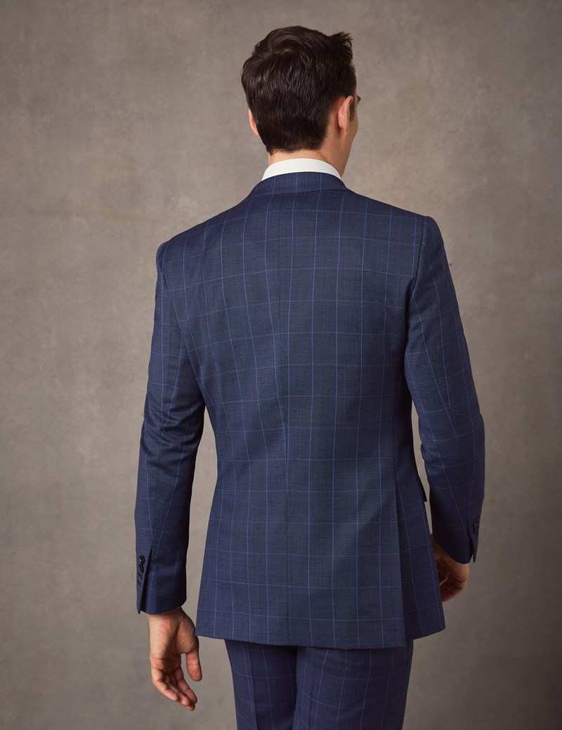 Men's Mid Blue End on End Check Slim Fit Suit Jacket