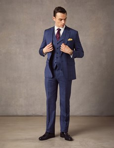 Men's Mid Blue End on End Check Slim Fit Suit