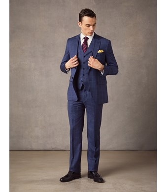 Men's Mid Blue End on End Plaid Slim Fit Suit