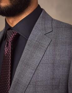 Men's Grey Tonal Check Classic Fit Suit Jacket