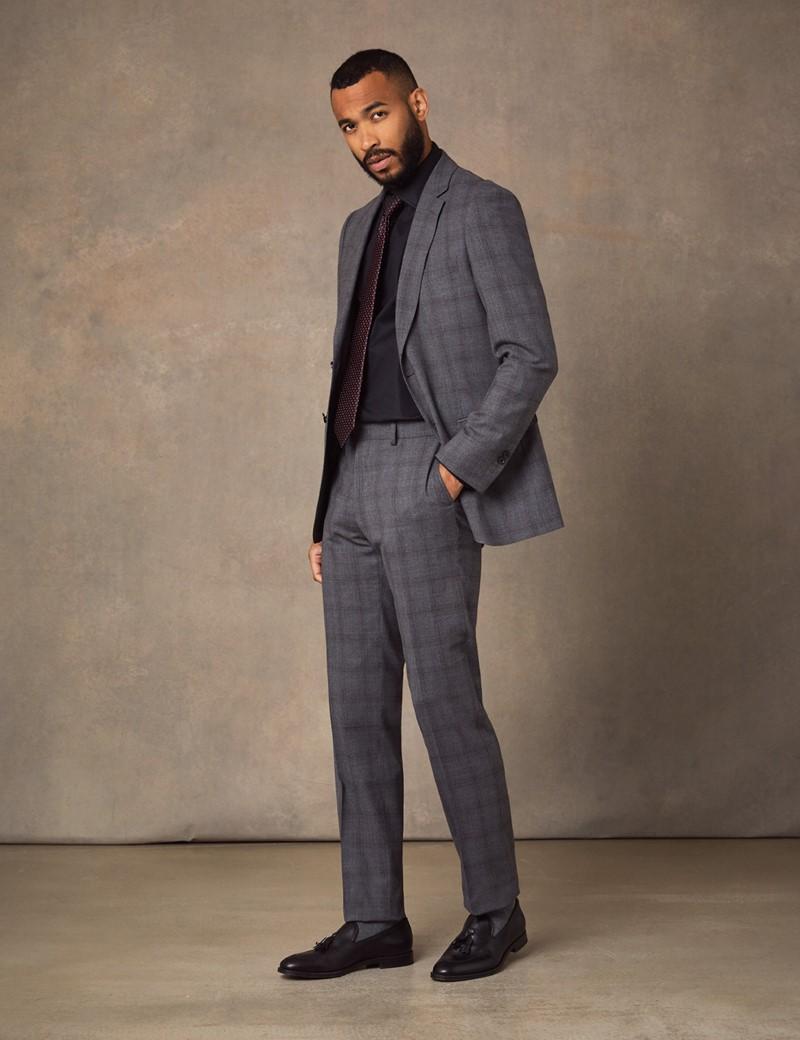 Anzug aus strapazierfähiger 100s Wolle - Classic Fit - Grau kariert