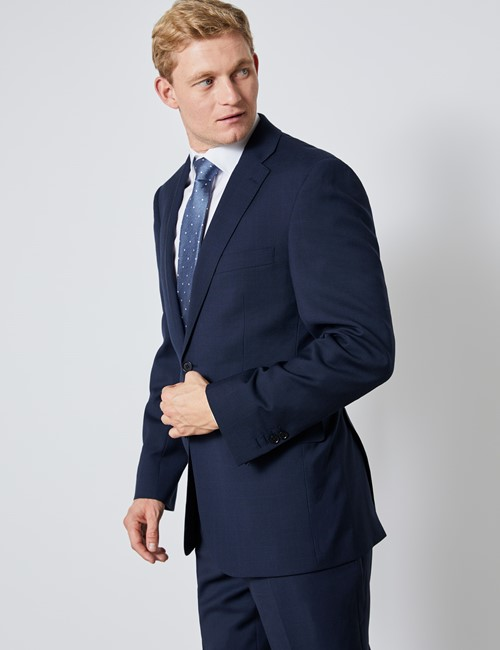 Men's Navy Tonal Check Classic Fit Suit Jacket