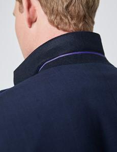 Men's Navy Tonal Plaid Classic Fit Suit
