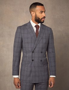 Men's Grey Tonal Prince of Wales Plaid Double Breasted Extra Slim Fit Suit Jacket