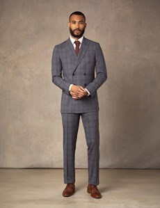 Men's Grey Tonal Prince of Wales Check Double Breasted Extra Slim Fit Suit Jacket