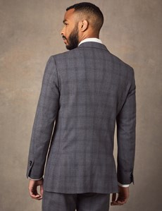Men's Grey Tonal Prince of Wales Check Double Breasted Extra Slim Fit Suit