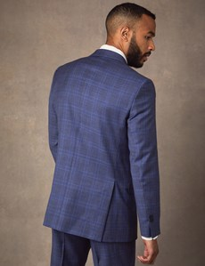 Men's Blue Two Tone Check Slim Fit Suit Jacket