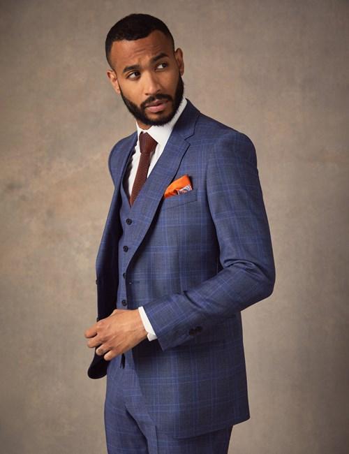 Men's Blue Two Tone Check Slim Fit Suit Jacket