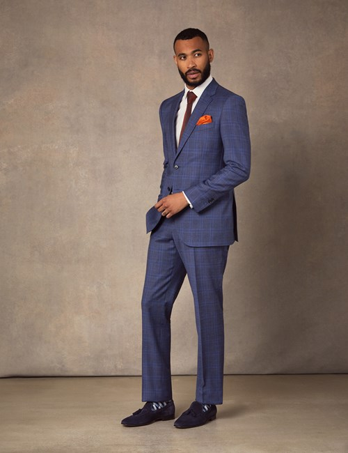 Men's Blue Two Tone Plaid Slim Fit Suit