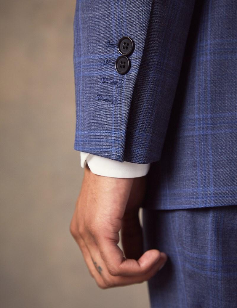Anzug aus strapazierfähiger 100S Wolle – Slim Fit – Schieferblau kariert
