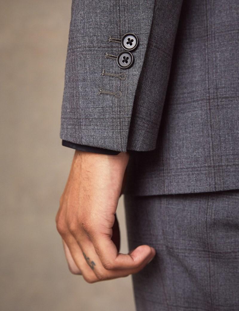 Men's Grey Tonal Plaid Slim Fit Suit Jacket