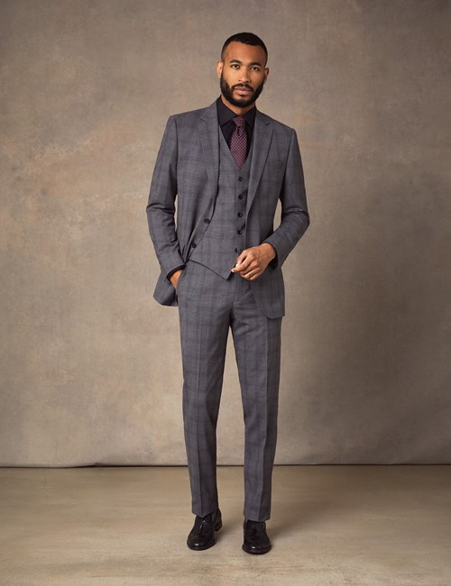 Men's Grey Tonal Check Slim Fit Suit