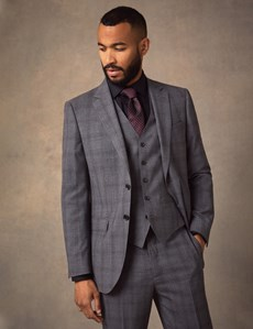 Men's Grey Tonal Plaid Slim Fit Suit