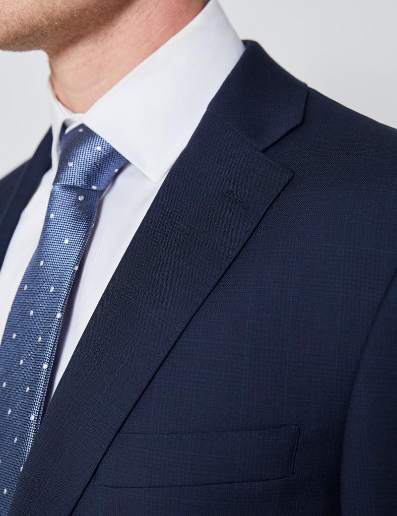 Men's Navy Tonal Plaid Slim Fit Suit Jacket