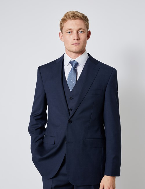 Men's Navy Tonal Plaid Slim Fit Suit Jacket