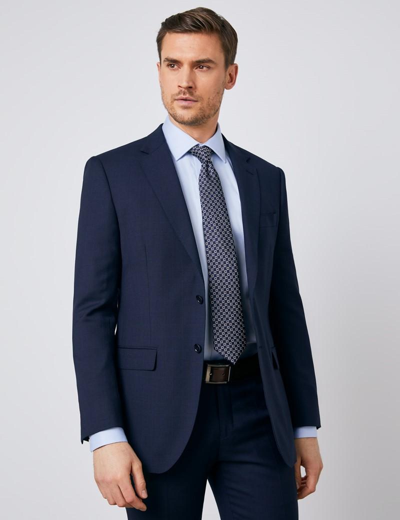 Men's Navy Tonal Check Slim Fit Suit Jacket