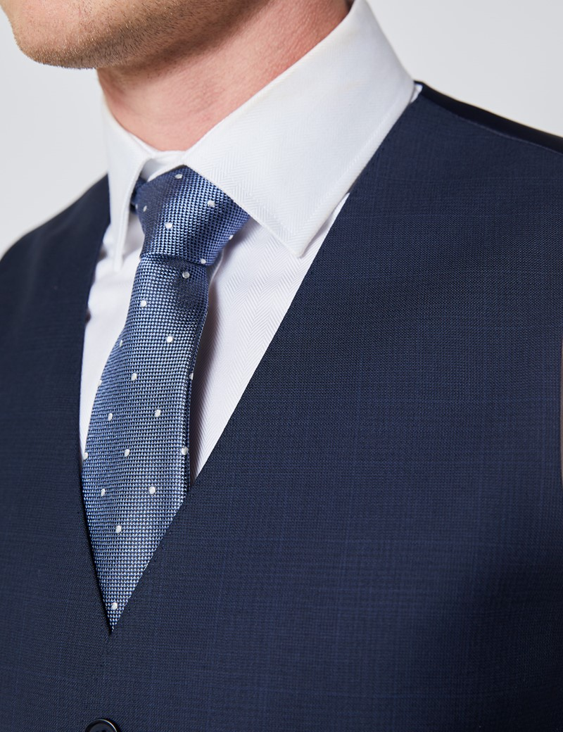 Men's Navy Tonal Plaid Slim Fit Suit