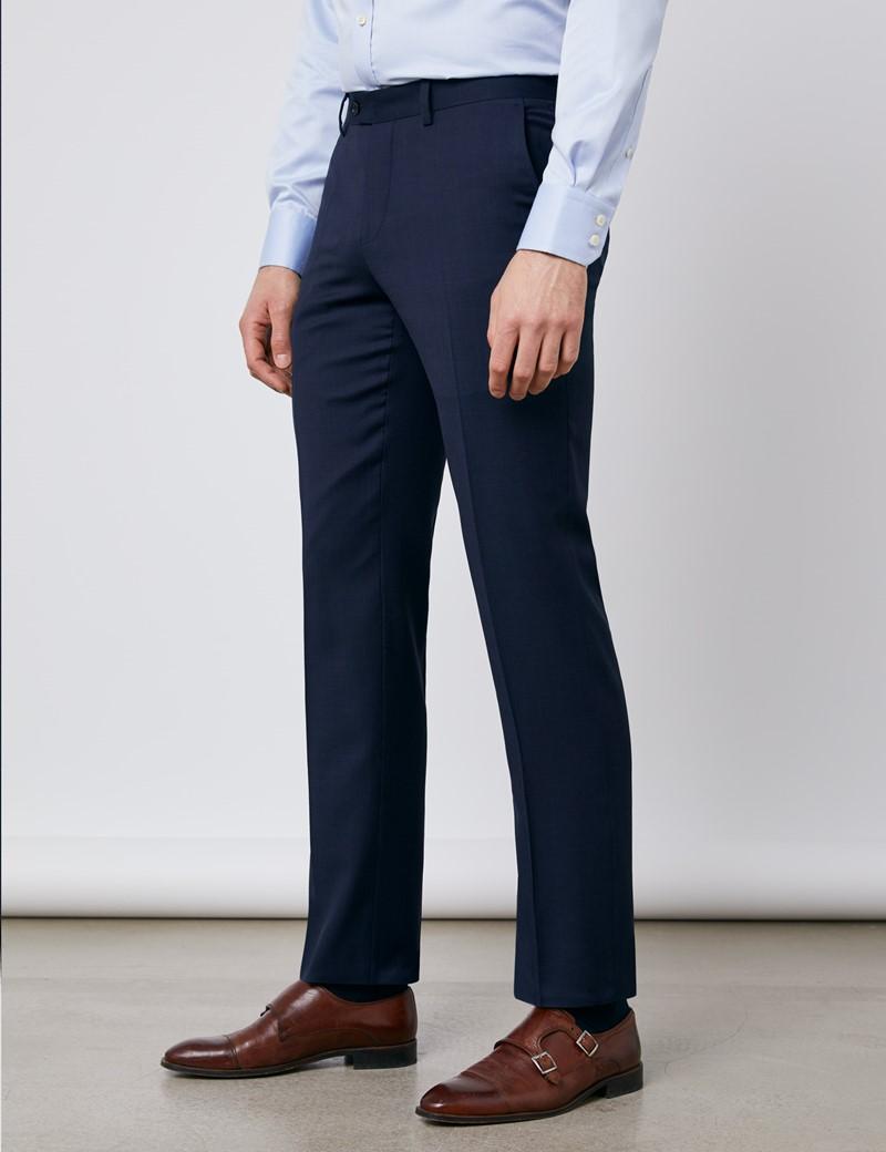 Men's Navy Tonal Plaid Slim Fit Suit