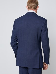Men's Blue & Wine Prince Of Wales Check Slim Fit Suit Jacket