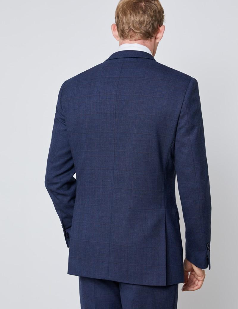 Men's Blue & Wine Prince Of Wales Plaid Slim Fit Suit Jacket
