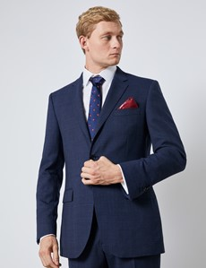 Men's Blue & Wine Prince Of Wales Check Slim Fit Suit