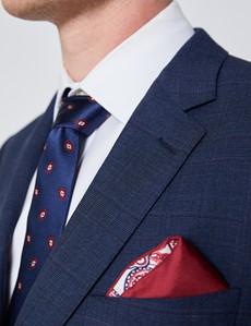 Anzug aus strapazierfähiger 100S Wolle – Slim Fit – Prince of Wales Karo blau & weinrot