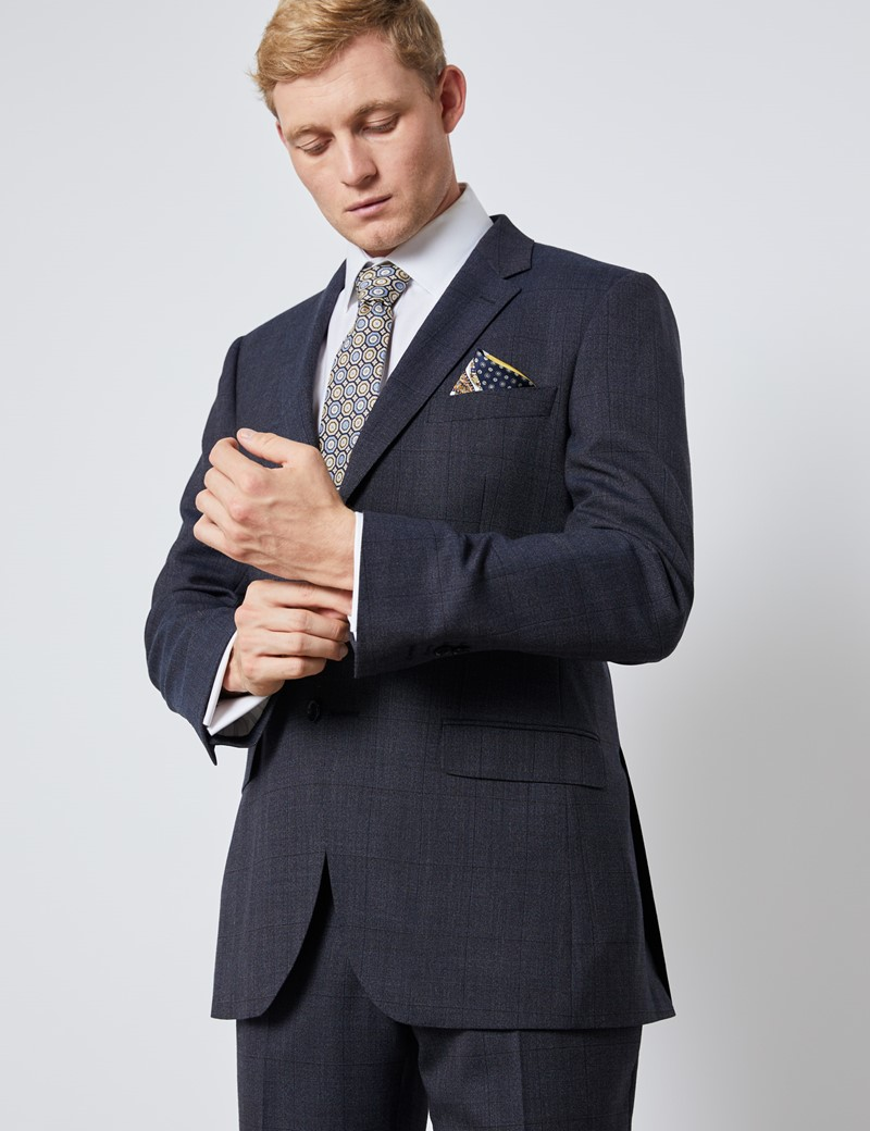 Men's Charcoal and Blue Prince Of Wales Check Slim Fit Suit Jacket