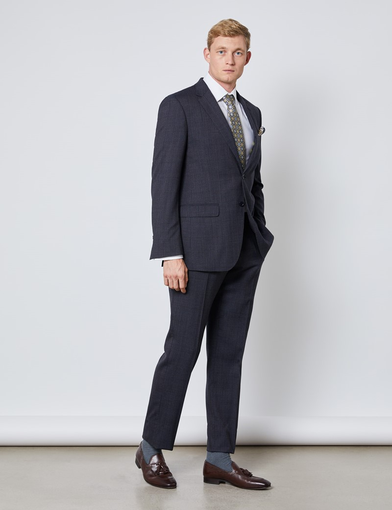 Men's Charcoal and Blue Prince Of Wales Check Slim Fit Suit