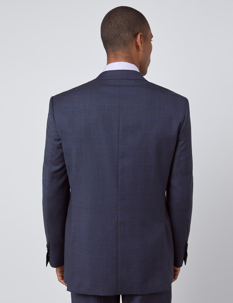 Men's Navy & Brown Windowpane Check Classic Fit Suit Jacket