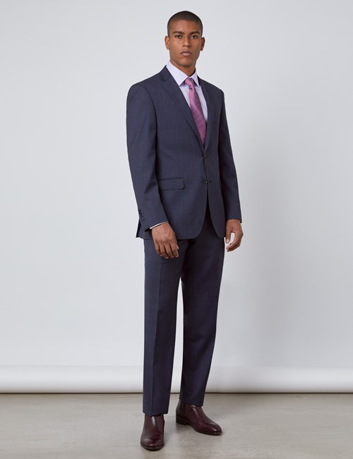 Men's Navy & Brown Windowpane Check Classic Fit Suit