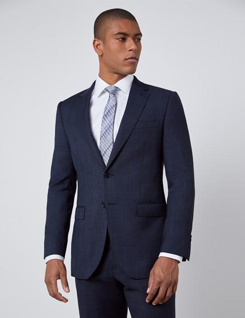 Men's Navy & Brown Windowpane Plaid Slim Fit Suit Jacket