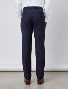 Anzug - Slim Fit - Windowpane-Muster navy - 100S Wolle