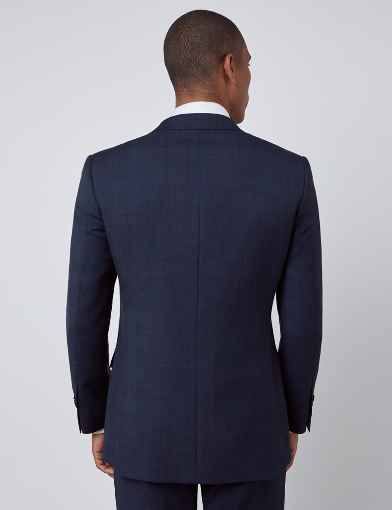 Men's Navy & Brown Windowpane Check Slim Fit Suit
