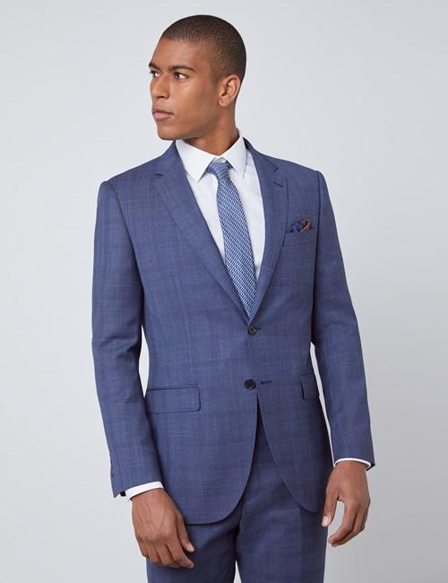 Men's Blue Overplaid Slim Fit Suit Jacket