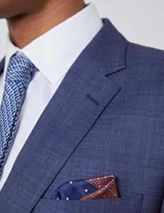 Men's Blue Overcheck Slim Fit Suit Jacket