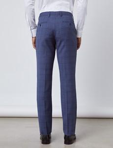 Men's Blue Overplaid Slim Fit Suit
