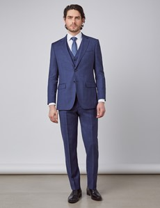 Men's Blue & Brown Overcheck Slim Fit Suit