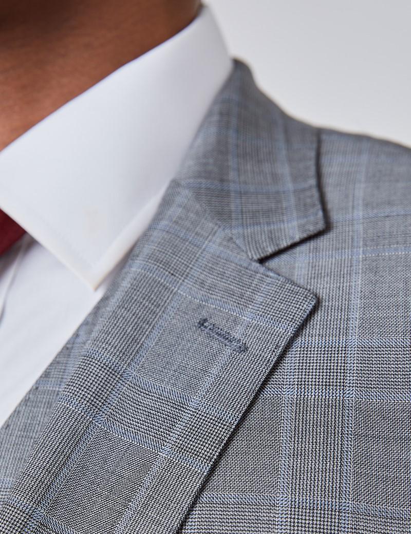 Men's Grey & Light Blue Prince Of Wales Plaid Slim Fit Suit Jacket