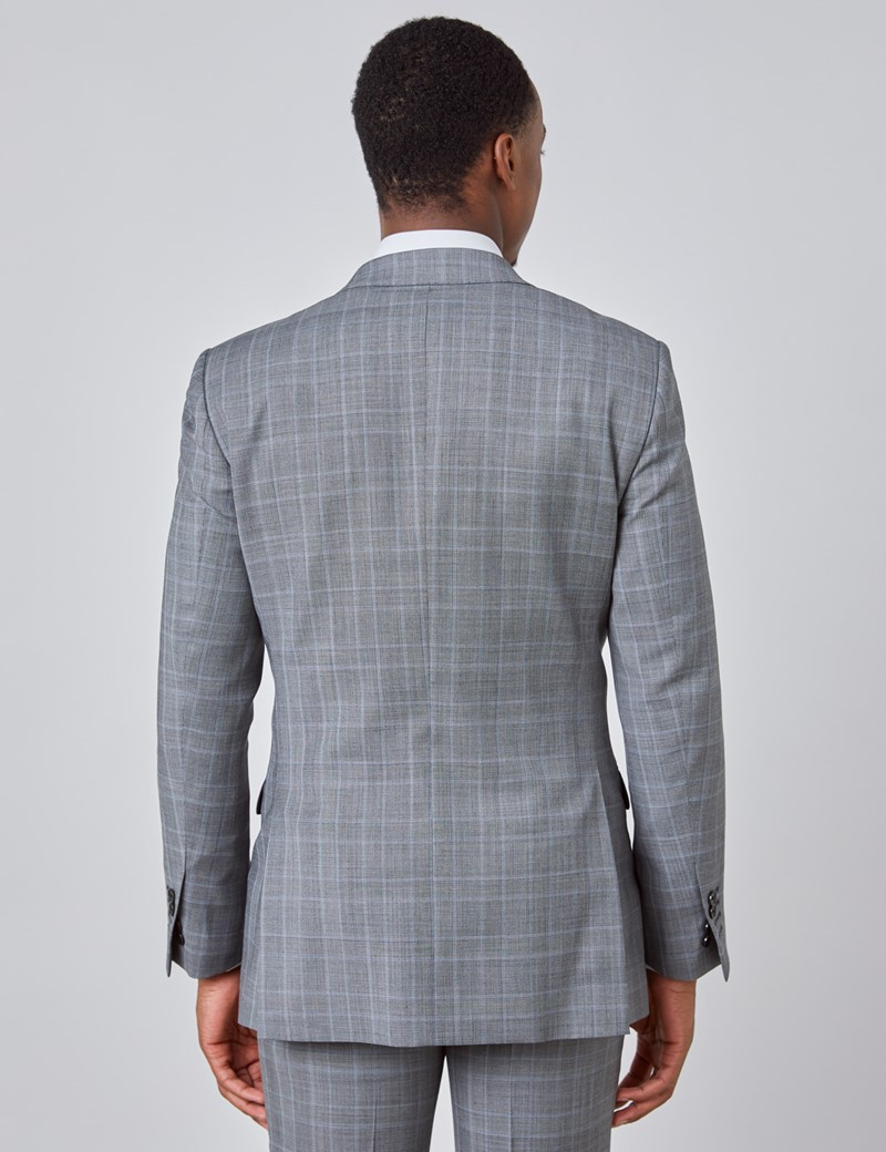 Men's Grey & Light Blue Prince Of Wales Check Slim Fit Suit Jacket
