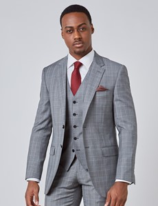 Men's Grey & Light Blue Prince Of Wales Check Slim Fit Suit