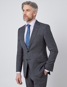 Men's Charcoal & Blue Prince Of Wales Check Slim Fit Suit Jacket